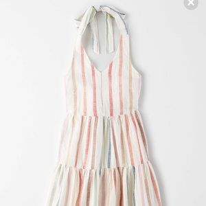 NWT Vertical Rainbow Striped AE Halter Summer Dres